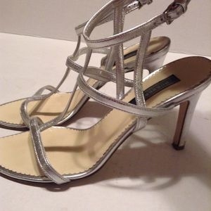 BURBERRY SILVER STRAPPY SANDALS